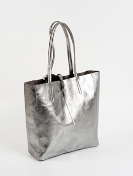 Platinum silver shopper bag M